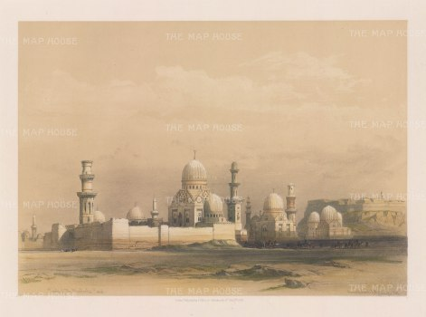 "Roberts: Tombs of the Mamlooks, Cairo. 1849. A hand coloured original antique lithograph. 15"" x 11"". [EGYp1063]"