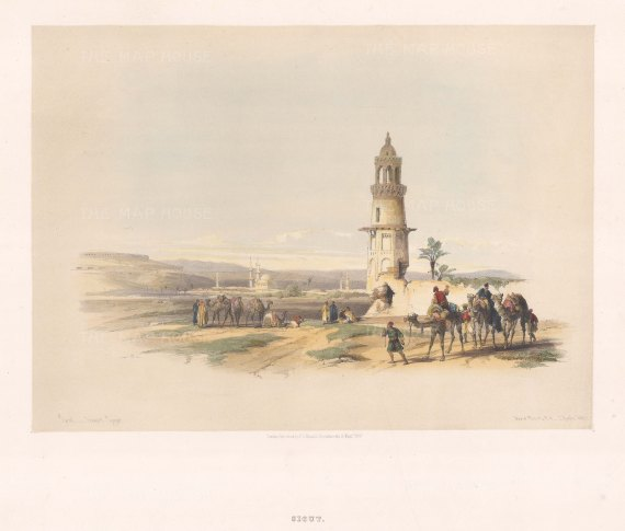 "Roberts: Siout. 1847. A hand coloured original antique lithograph. 15"" x 12"". [EGYp1071]"