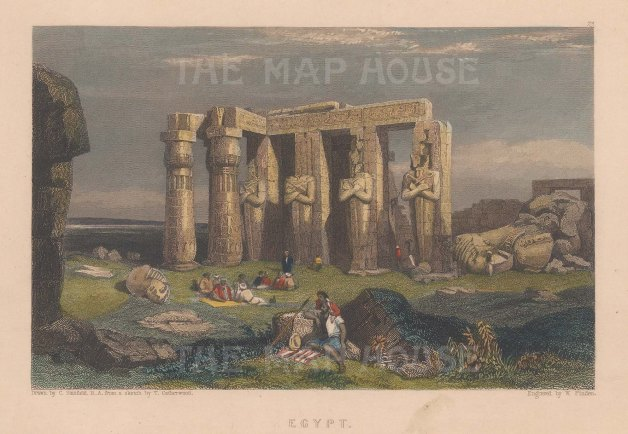 "Murray: Temple of Memnon, Thebes. 1836. A hand coloured original antique steel engraving. 7"" x 5"". [EGYp1112]"