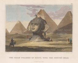 """Craig: Sphynx. 1820. A hand coloured original antique copper engraving. 8"""" x 5"""". [EGYp1132]"""