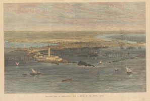 Alexandria: Bird's eye view from Pharos Island and the fort of Qaitbay towards the lake of Mariout. Within days of this view being drawn, British forces seized the city, remaining until 1956.