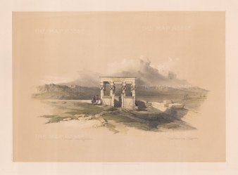 "Roberts: Temple of Isis, Dendera. 1848. A hand coloured original antique lithograph. 16"" x 13"". [EGYp546]"