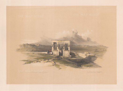 """Roberts: Temple of Isis, Dendera. 1848. A hand coloured original antique lithograph. 16"""" x 13"""". [EGYp546]"""