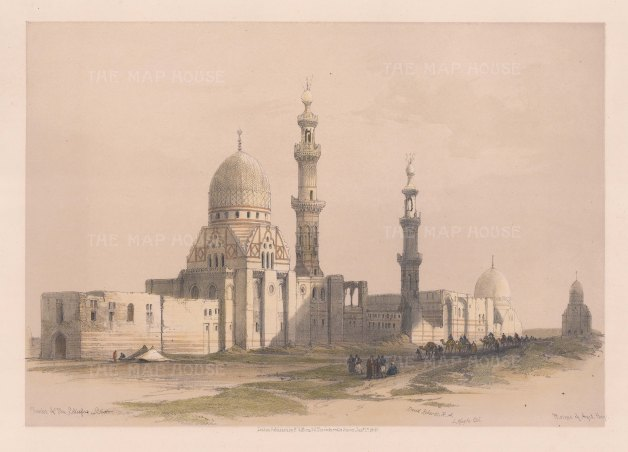 """Roberts: Mosque of Ayed Bey, Tombs of the Caliphs, Cairo. 1849. A hand coloured original antique lithograph. 16"""" x 11"""". [EGYp548]"""