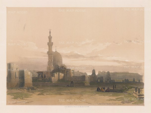 "Roberts: Tombs of the Caliphs, Cairo. 1848. A hand coloured original antique lithograph. 14"" x 11"". [EGYp916]"