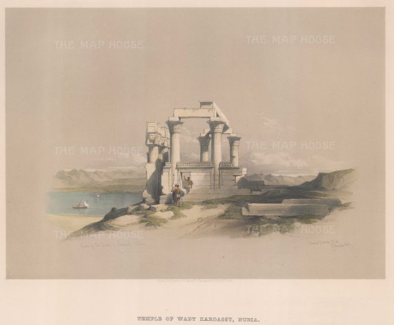 """Roberts: Temple at Wady Kardassy, Nubia. 1848. A hand coloured original antique lithograph. 14"""" x 10"""". [EGYp980]"""
