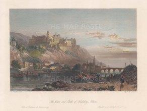 "Beattie: Heidelberg. 1844. A hand coloured original antique steel engraving. 7"" x 5"". [GERp1279]"