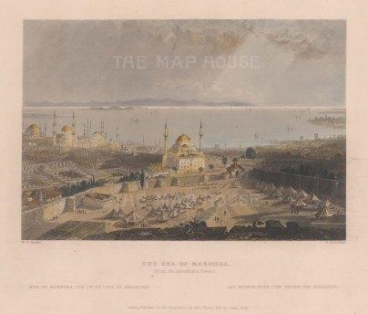 "Bartlett: Istanbul. 1838. A hand coloured original antique steel engraving. 8"" x 5"". [TKYp1095]"