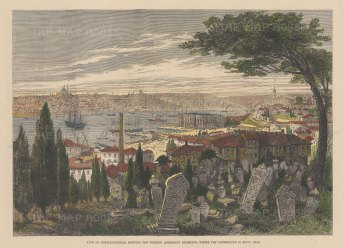 """Illustrated London News: Istanbul. 1877. A hand coloured original antique wood engraving. 12"""" x 9"""". [TKYp1098]"""