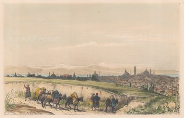 Constantinople: Distant view of the city from the road to Belgrade.