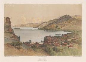 """de Hell: Kerezoun. 1853. A hand coloured original antique lithograph. 18"""" x 13"""". [TKYp1155]"""