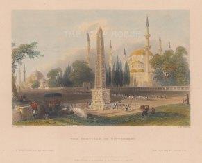 "Bartlett: Atmeidan, Istanbul. 1838. A hand coloured original antique steel engraving. 8"" x 5"". [TKYp1225]"