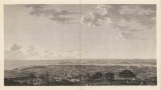 Constantinople: Panorama from Boulgourlou Hill above Scutari on the Anatolian shore of the Bosphorus. In the foreground is the artist conferring with locals as he sketches.
