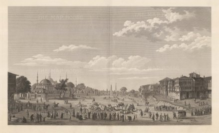 Constantinople: Hippodrome or Atmeydanı (Horse Square). View of the 2nd century square designed for entertainments and racing with the obelisks of Constantine VII and Theodosius, the latter actually being the obelisk of Thutmose III 13th c BC.