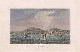 "Kelly: Izmir. 1840. A hand coloured original antique steel engraving. 8"" x 5"". [TKYp1275]"
