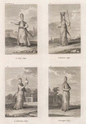 Aghas (masters) of the Kapi (Palace Eunuchs), Ibriktar (Golden Pitcher), Dulbendar (Turban) and Itchoglan (Palace pages).