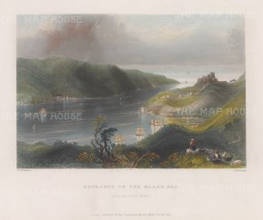 "Bartlett: Black Sea. 1838. A hand coloured original antique steel engraving. 8"" x 5"". [TKYp1316]"