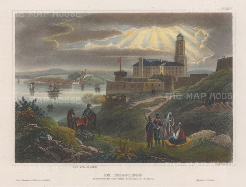 "Meyer: Rumelihisarı (Castle of Europe), Bosphorus. 1857. A hand coloured original antique steel engraving. 6"" x 4"". [TKYp1321]"