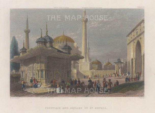 "Bartlett: Hagia Sophia, Istanbul. 1838. A hand coloured original antique steel engraving. 8"" x 5"". [TKYp1336]"