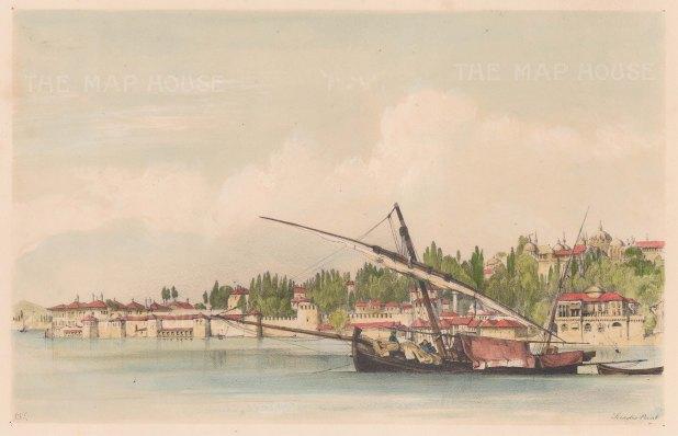 "Lewis: Sarayburnu (Seraglio Point), Istanbul. 1837. A hand coloured original antique lithograph. 10"" x 7"". [TKYp203]"