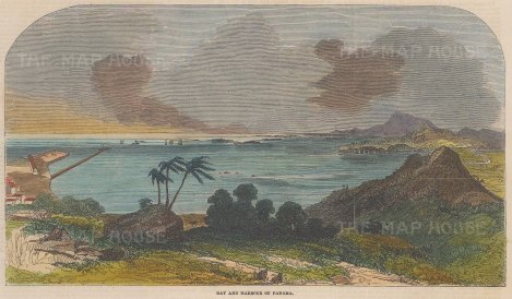 "Illustrated London News: Panama Bay, Panama. 1852. A hand coloured original antique wood engraving. 10"" x 6"". [CAMp181]"