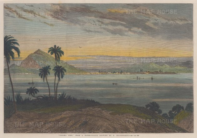 "Illustrated London News: Panama Port, Panama. 1868. A hand coloured original antique wood engraving. 14"" x 10"". [CAMp190]"