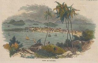 "Illustrated London News: Panama Bay, Panama. 1843. A hand coloured original antique wood engraving. 7"" x 4"". [CAMp203]"
