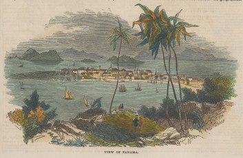 "Illustrated London News: Panama Bay, Panama. 1843. A hand coloured original antique wood engraving. 7"" x 4"". [CAMp203]"