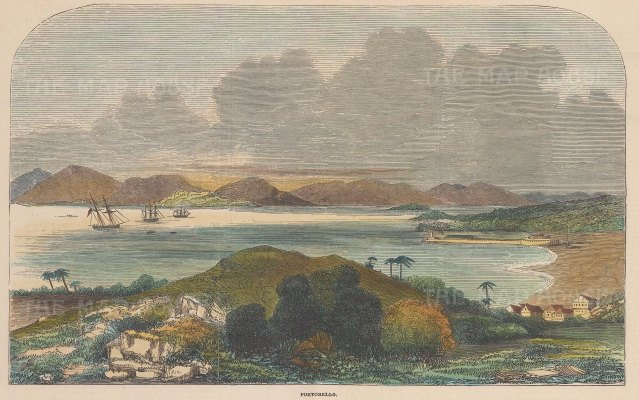 "Illustrated London News: Portobello, Panama. 1852. A hand coloured original antique wood engraving. 10"" x 7"". [CAMp204]"