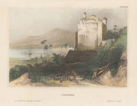 "Meyer: Panama City, Panama. 1836. A hand coloured original antique steel engraving. 6"" x 4"". [CAMp205]"