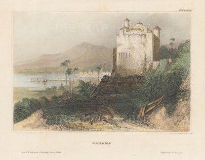 "Meyer: Panama City, Panama. 1836. A hand coloured original antique steel engraving. 6"" x 4"". [CAMp205]"