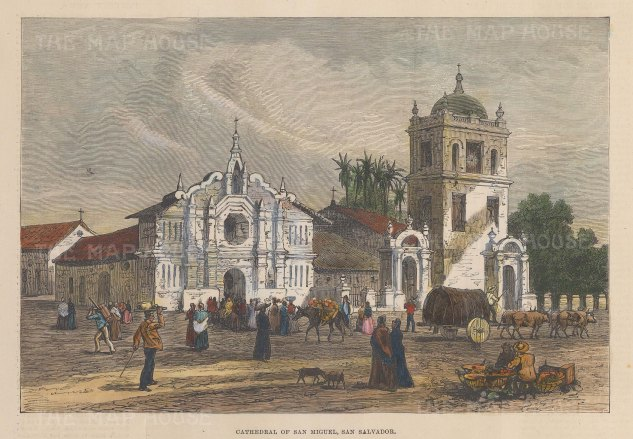 "Illustrated London News: San Miguel, San Salvador. 1891. A hand coloured original antique wood engraving. 8"" x 6"". [CAMp212]"