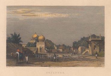 "Elliot: Bijapur. 1842. A hand coloured original antique steel engraving. 7"" x 5"". [INDp1549]"