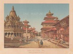 """Le Bon: Patan, Nepal. 1887 An original antique chromolithograph. 8"""" x 6"""". [INDp1557]"""