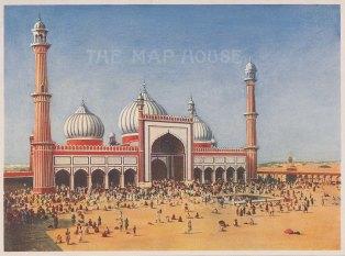 Jama Masjid (Masjid e Jahan Numa): View of the front elevation.