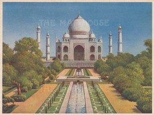 "Indian Times: Taj Mahal, Agra. c910. An original antique chromolithograph. 7"" x 5"". [INDp1564]"