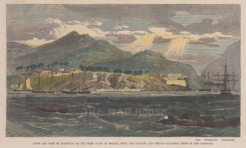 """Illustrated London News: Acapulco. c1862. A hand coloured original antique wood engraving. 9"""" x 6"""". [MEXp161]"""