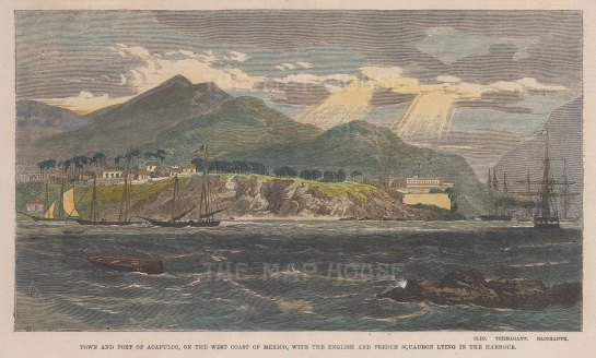 "Illustrated London News: Acapulco. c1862. A hand coloured original antique wood engraving. 9"" x 6"". [MEXp161]"