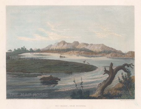"Smillie: Rio Grande. c1850. A hand coloured original antique steel engraving. 9"" x 7"". [MEXp187]"