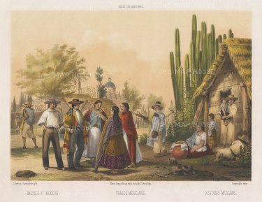 Trajes Mexicanos. Mexicans in traditional dress.