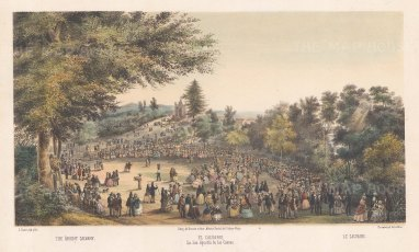 Mexico City: San Agustin de las Cuevas: Easter celebrations with the Chapel of Cavalry on the Avenida Insurgentes Sur in the distance.
