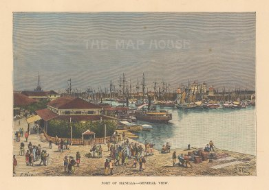 "Reclus: Manila. 1894. A hand coloured original antique wood engraving. 8"" x 6"". [SEASp1742]"