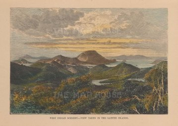 "Reclus: Saintes Islands, Guadaloupe. 1894. A hand coloured original antique wood engraving. 8"" x 5"". [WINDp1097]"