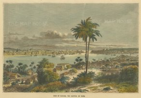 "Collins: Havana, Cuba. c1870. A hand coloured original antique wood engraving. 10"" x 8"". [WINDp1155]"