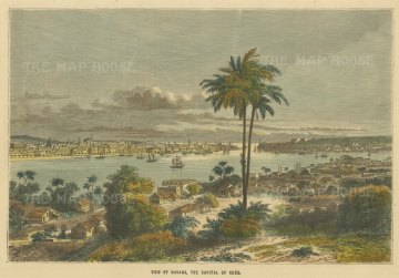 "Collins: Havana, Cuba. c1870. A hand coloured original antique wood engraving. 10"" x 8"". [WINDp1155]"