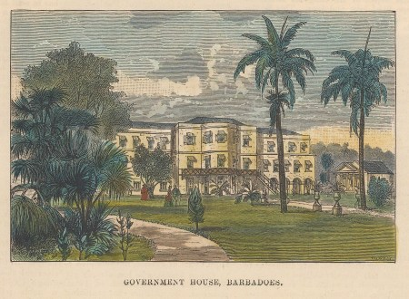 "Illustrated London News: Government House, Barbados. c1850. A hand coloured original antique wood engraving. 5"" x 4"". [WINDp1174]"