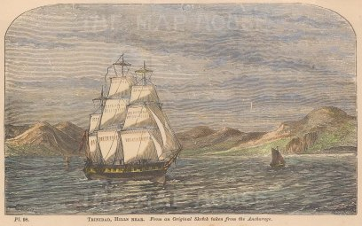 """Anonymous: Point Gourde, Trinidad. c1880. A hand coloured original antique wood engraving. 6"""" x 4"""". [WINDp1186]"""