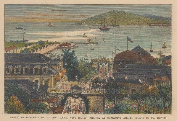 "Graphic Magazine: Charlotte Amalie, St. Thomas. 1879. A hand coloured original antique wood engraving. 9"" x 6"". [WINDp1199]"