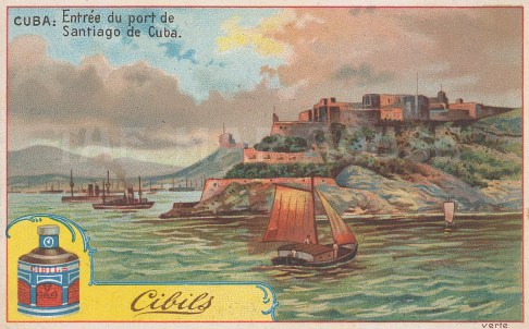 "Ciblis: Santiago, Cuba. 1900. An original antique chromolithograph. 5"" x 3"". [WINDp1206]"