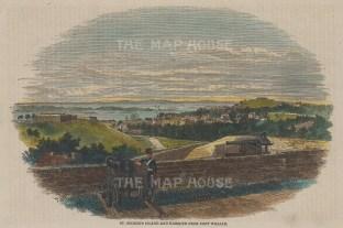"Illustrated London News: St Jago de Cuba. c1849. A hand coloured original antique wood engraving. 9"" x 7"". [WINDp1220]"